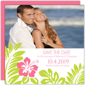 Tropical Palm Leaves and Hibiscus Save the Date