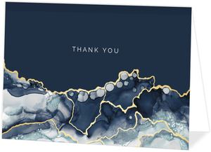 Modern Navy Ink Thank You Card