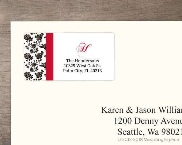 romantic roses black and red address label wedding address labels