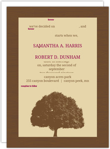 Brown and Merlot Country Tree Wedding Invitation