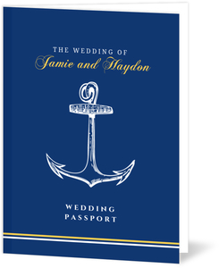 Blue and Yellow Anchor Destination Wedding Invitation