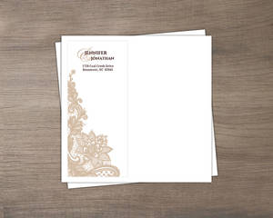 Brown and White Lace Custom Envelope