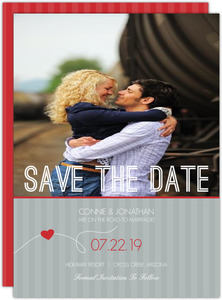 Red Gray Journey Save The Date Announcement