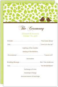 Brown Green Love Birds Wedding Program
