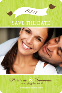 Brown Green Love Birds Save The Date Announcement