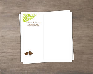 Brown Green Love Birds Custom Envelope