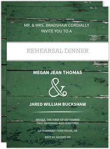 Green Wood Grain Photo Rehearsal Dinner Invitation