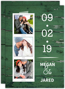 Green Wood Grain Photo Save The Date Announcement