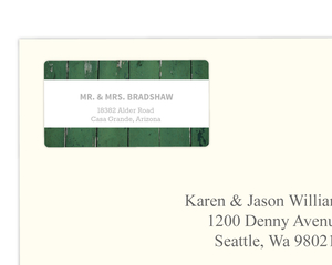 Green Wood Grain Photo Address Label