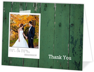 Green Wood Grain Photo Wedding Thank You Card