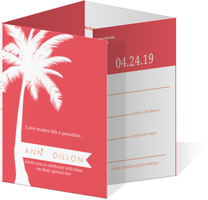 Pink and Orange Tropical All In One Destination Wedding Invitation