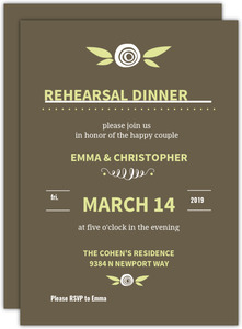 Green Whimsical Flowers Rehearsal Dinner Invitation