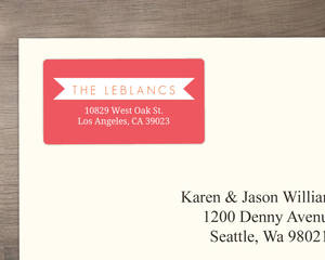 Pink and Orange Tropical Destination Address Label