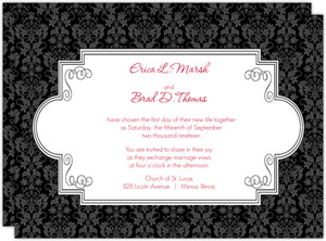 Black and Red Floral Damask Wedding Invitation