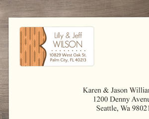 Fall Wheat Orange and Brown Address Label