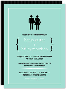 Turquoise Modern Family Wedding Invitation