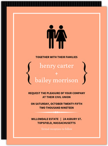 Peach Modern Family Wedding Invitation