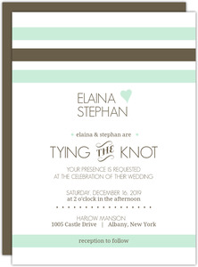 Mint Brown Soft Stripes Wedding Invitation