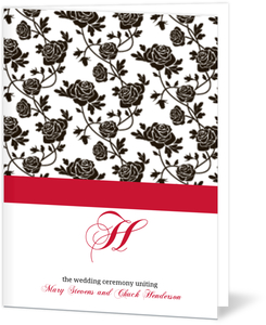 Romantic Roses Black and Red Wedding Program