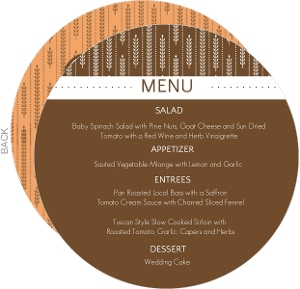 Fall Wheat Orange and Brown Menu