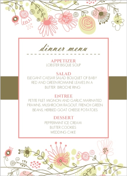 Spring floral border menu card wedding menu cards for Roman menu template