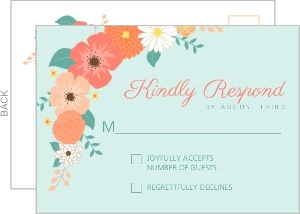 Mint Green Country Floral Wedding Response Card