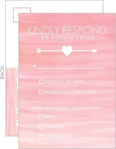 Monogram Pink Watercolor Ombre Wedding Response Card