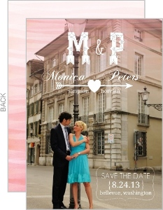 Monogram Pink Watercolor Ombre Save The Date