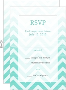 Chevron Turquoise Ombre Wedding Response Card