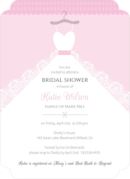 White wedding dress bridal shower invite parties and showers white wedding dress bridal shower invite filmwisefo Image collections