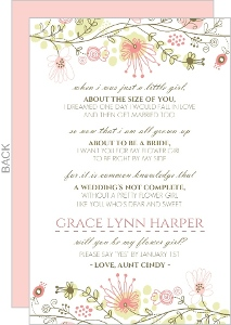 Spring Floral Border Will You Be My Flower Girl Card