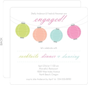 Colorful Lanterns Engagement Party Invitation