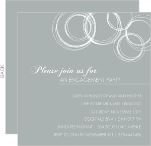 White Circles on Grey Engagement Party Invite