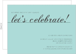 Let's Celebrate Blue Engagement Party Invite