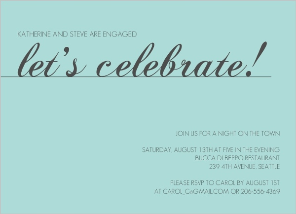 Wedding Celebrations Quotes: Let's Celebrate Blue Engagement Party Invite