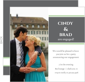 Square Green and Grey Engagement Party Invite