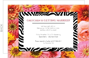 Flowers and Zebra Bachelorette Party Invite