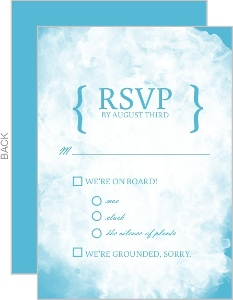 Blue Watercolor Hot Air Balloon Response Card