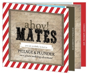 Red Stripe Rustic Pirate Wedding Invitation