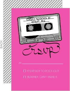 Retro Pink Mixed Tape Response Card
