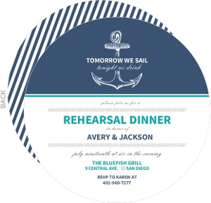 Blue Nautical Anchor Rehearsal Dinner Invitation