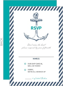 Blue Nautical Anchor Wedding Response Card