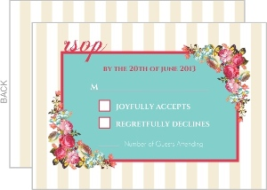 Pink Romantic Flowers Wedding Response Card