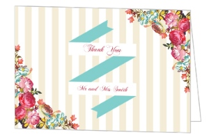 Pink Romantic Flowers Thank You Card