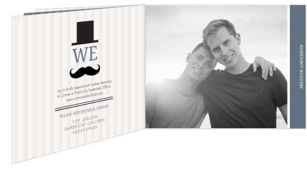 Gay Marriage Wedding Invitations: Cream Vintage Mustache Gay Wedding Invitation