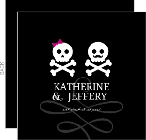 Black Mustache and Bow Skulls Halloween Wedding Invitation