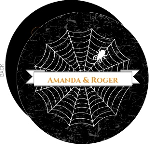 Black Grunge Spider Web Halloween Wedding Invitation