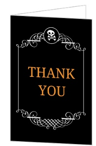 Black Skull Monogram Frame Halloween Thank You Card