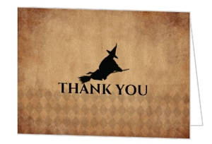 Rustic Black Flying Witch Halloween Thank You Card