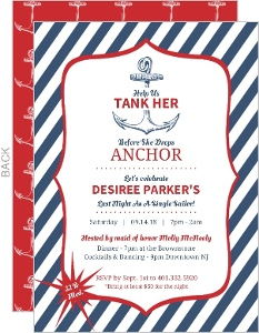 Nautical Anchor Tank Her Blue Stripes Bachelorette Party Invite